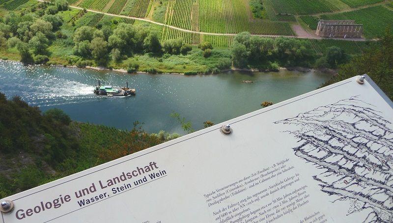 Infotafeln informieren im Calmont über die Landschaft.