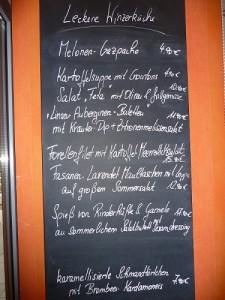 Die Tageskarte im Weingut Longen-Schlöder.