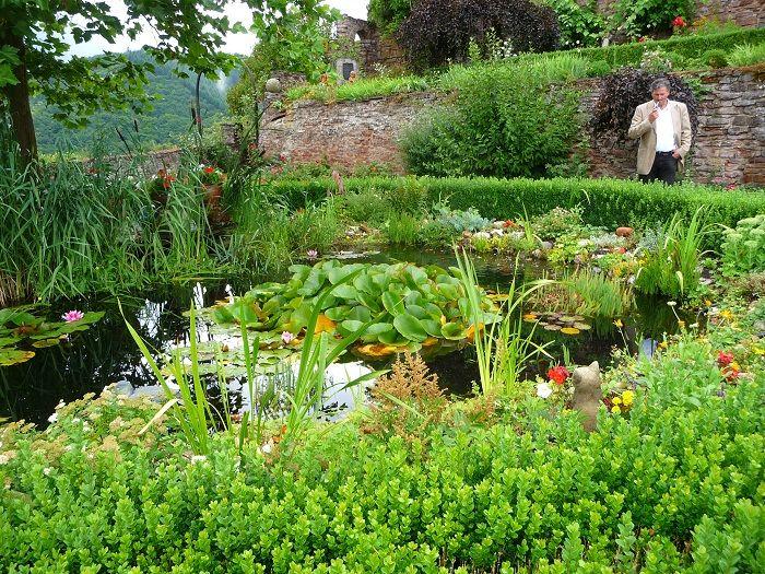 Der Seerosenteich im Garten von Burg Arras.