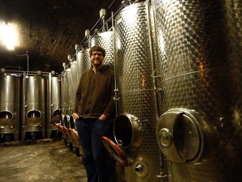 Daniel Immich steht Weinkellerunter dem Weingut Immich-Anker